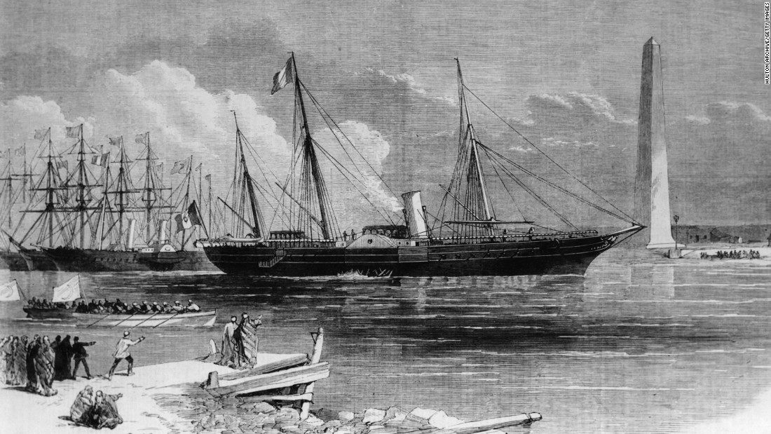 The French Empress Eugenie officially opens the Suez Canal at Port Said in Egypt, on board the imperial yacht 'Aigle,' on November 17, 1869.