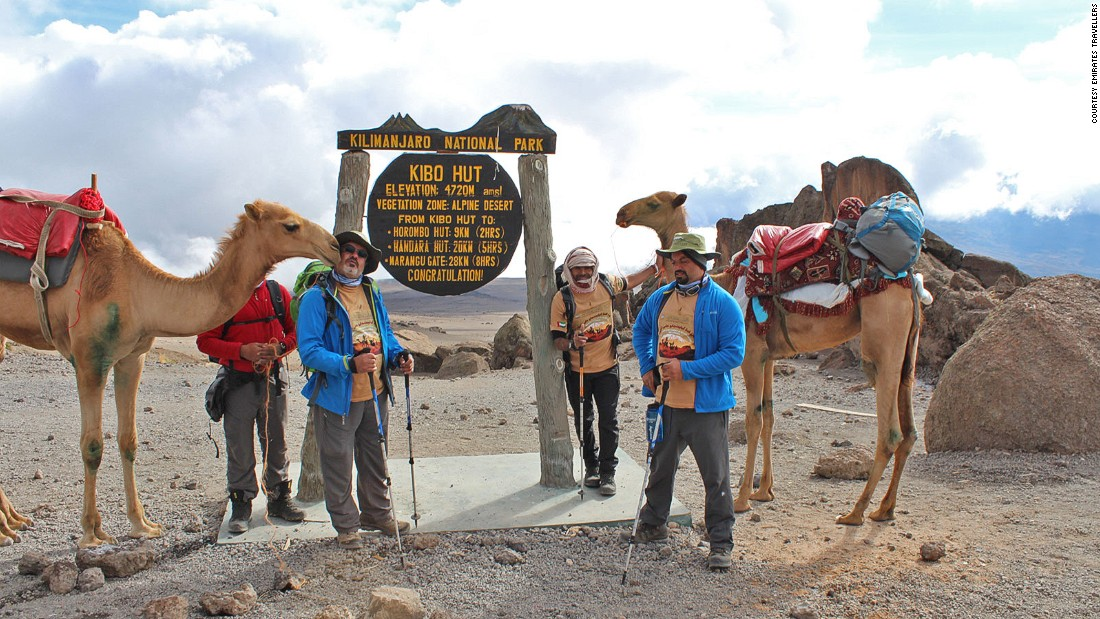 """When we reached the top we didn't celebrate too much as we knew going back wouldn't be easy because the camel has long legs,"" says Majrin. ""With patience and the expertise of local guides and porters, the Emirates team made it up and back to the park entrance with no casualties."""