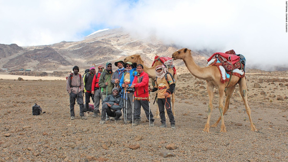 "Majrin says his team paid extra attention so that the animals -- ridden and used to carry provisions only some of the way -- wouldn't come to harm. ""Even for us it was hard breathing and there was snow, but we took care of the camels to protect them from cold,"" he recalls."