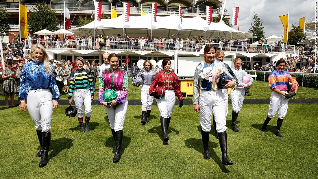 Here come the girls! The 10 jockeys competing in this year's Magnolia Cup at the Qatar Goodwood Festival. Each rider wears a specially-made racing silk created by top designers, including fashion legend Vivienne Westwood.