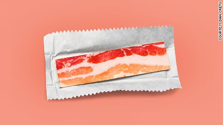Bacon chewing gum anyone? One of the fantastical creations from food designer and photographer, Dan Cretu.