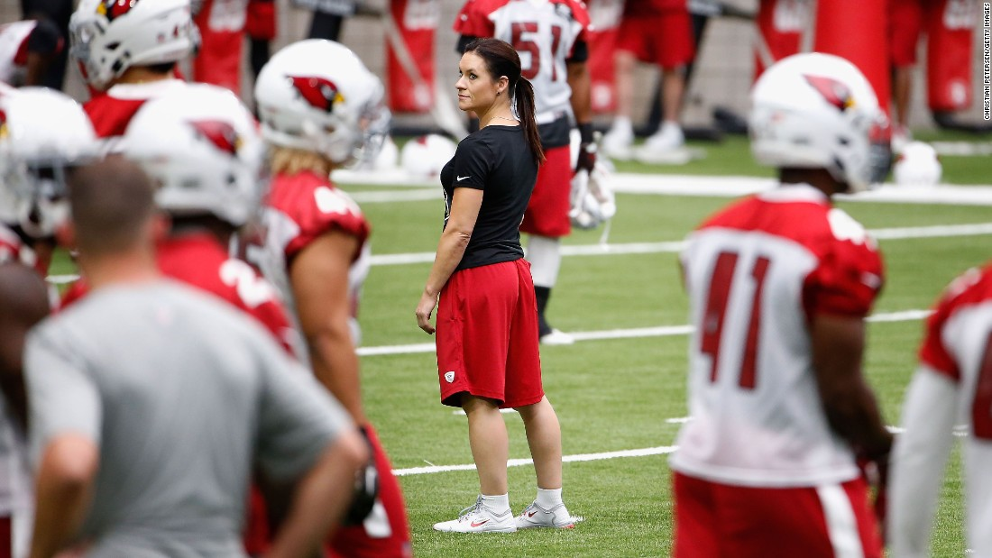 Jennifer Welter, a veteran player on professional women's football teams, became the National Football League's first female coach when she was hired as a training camp and preseason intern for the Arizona Cardinals in 2015. Welter is also the first woman to coach in a men's professional football league, having been named a coach for the Indoor Football League's Texas Revolution.