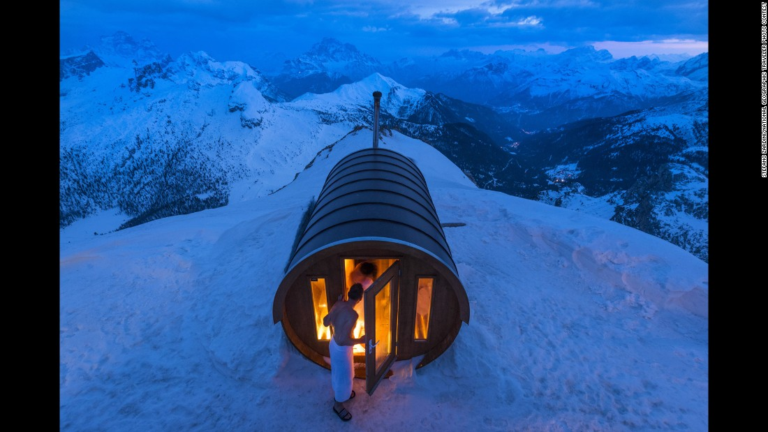 "Zardini said this is ""a sauna at 2,800 meters high in the heart of (the) Dolomites. Monte Lagazuoi, Cortina, eastern Italian Alps."""