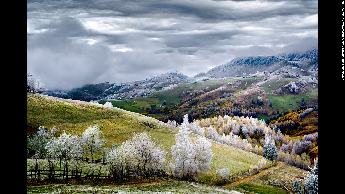 "Gutescu took this photo of ""white frost over Pestera village"" in Romania."
