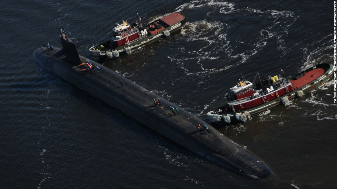 The U.S. Navy has 14 ballistic missile submarines, also called boomers, in service. The boomers, displacing 18,750 tons submerged and 560 feet long, can carry 24 nuclear-armed Trident II ballistic missiles and serve as nuclear deterrents. Here, Ohio-class ballistic-missile submarine USS West Virginia (SSBN 736) departs a Norfolk Naval Shipyard in 2013 after an engineering overhaul.