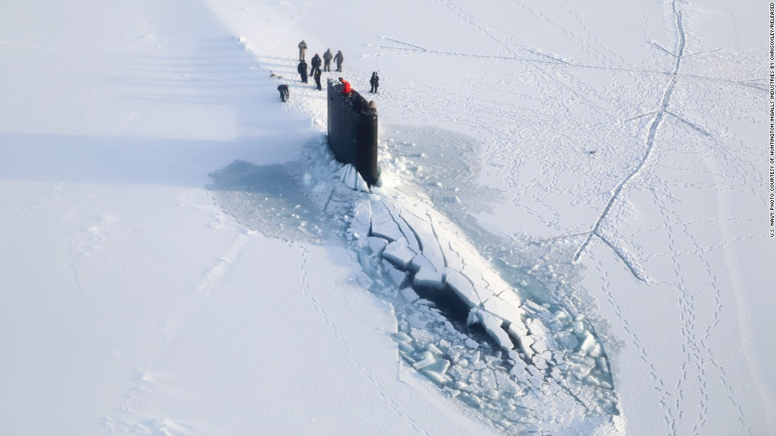 The Los Angeles-class attack submarine USS Hampton surfaces through Arctic ice in March 2014. The Los Angeles-class is the biggest in the Navy's sub fleet, with 41 now in commission. These subs displace 6,900 tons and are 360 feet long. The class was introduced in 1976.