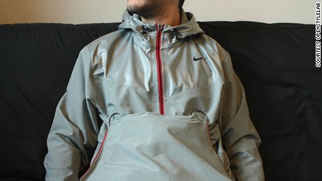The RAYN jacket, made for a wheelchair bound client that suffers from sensitive nerves.