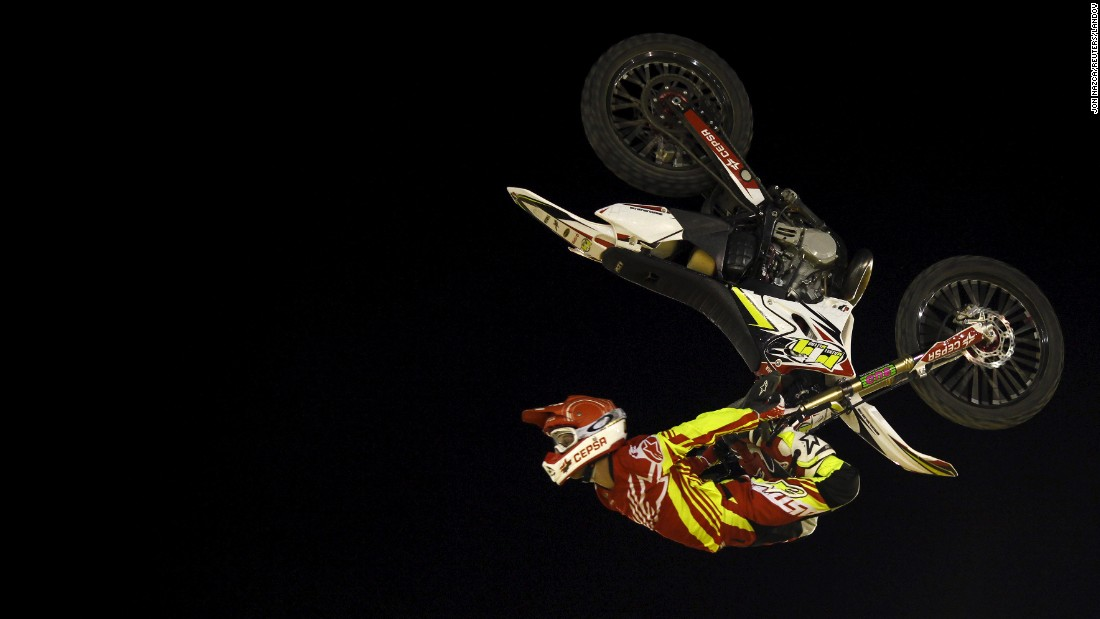 Maikel Melero performs a jump during a freestyle motocross show in Malaga, Spain, on Saturday, August 1.