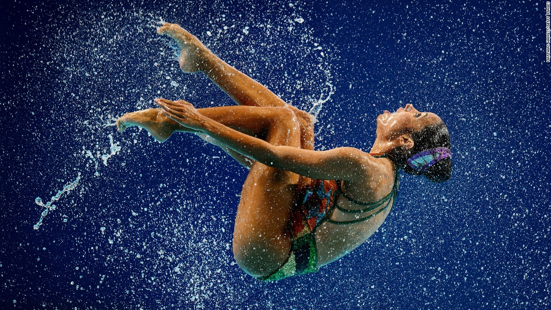 A member of Venezuela's synchronized-swimming team competes at the World Aquatics Championships on Tuesday, July 28.