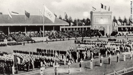 The Opening Ceremony of the VII Olympic Games on April 20, 1920 in Antwerp, Belgium.