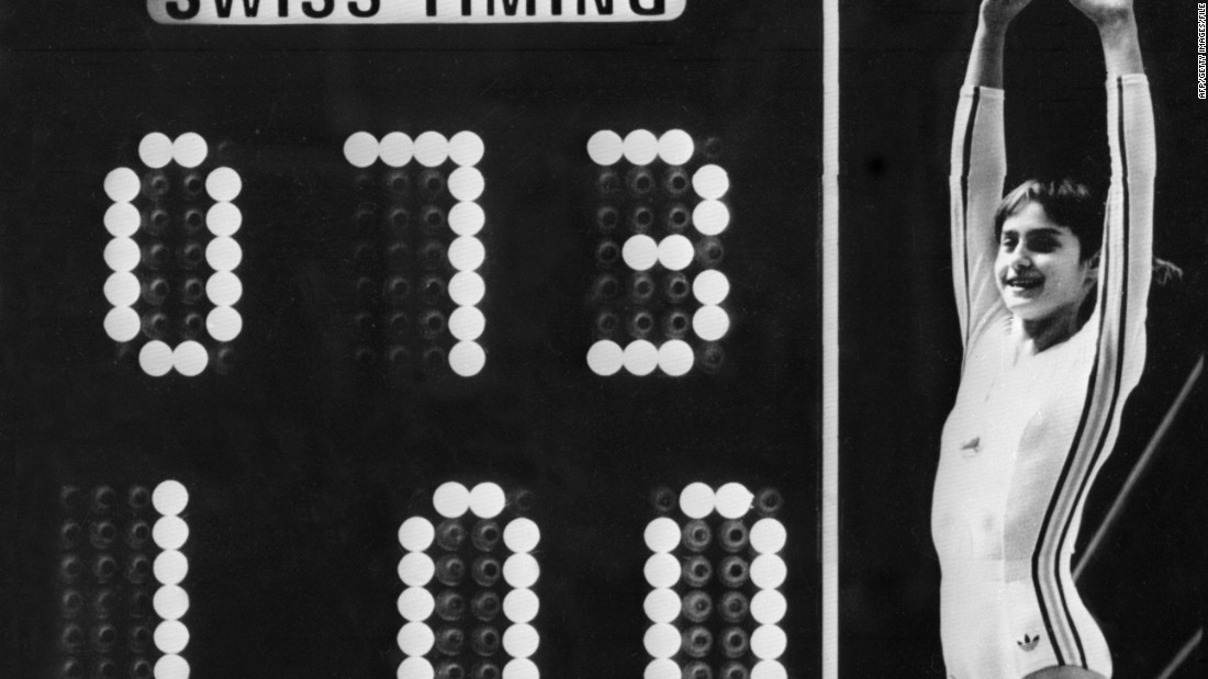 "Nadia Comaneci may have only been 14, but the Romanian gymnast scored a ""perfect 10"" on her way to winning three gold medals in Canada. The scoreboard could only display three digits, so her score went up as 1.00."
