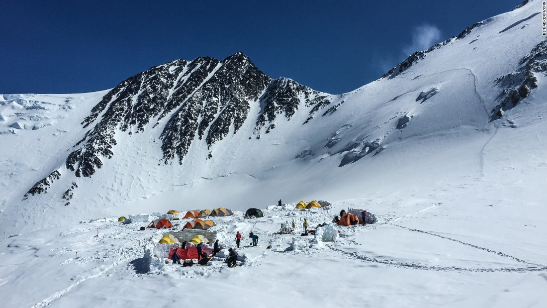 Situated on a small plateau at 17,200 feet, high camp is the last stop before a summit push. Due to the thin air at this high elevation, climbers ideally stay here only a night or two to keep their strength up for the 3,000-foot summit push.