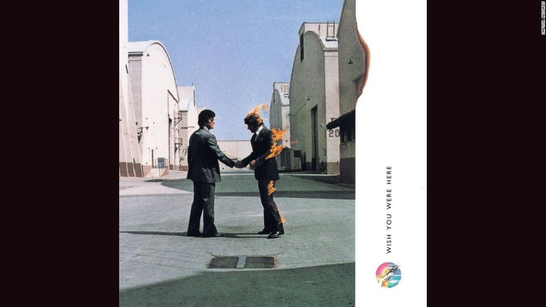 "<strong>""Wish You Were Here,"" Pink Floyd</strong>: No gallery of album covers would be complete without at least one representative from the design team of Hipgnosis, known for its surreal photographic imagery. Hipgnosis' works include Led Zeppelin's ""Houses of the Holy,"" 10cc's ""Deceptive Bends"" and Peter Gabriel's first three solo albums. ""Here,"" Pink Floyd's 1975 record, is particularly arresting: two men shaking hands, one of whom is on fire, with the flames licking the frame of the photograph."