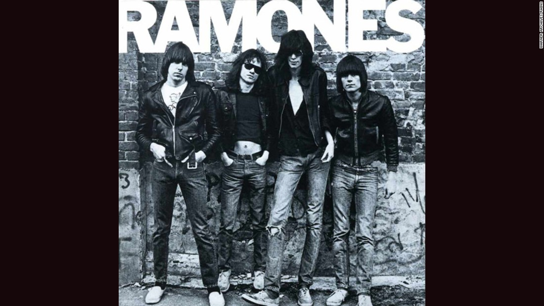 "<strong>""Ramones""</strong>: The cover of the band's 1975 debut, with a black and white photograph of the band by Roberta Bayley and ""RAMONES"" in Franklin Gothic font, offered some inkling to the blunt music within: direct, aggressive and no-holds-barred."