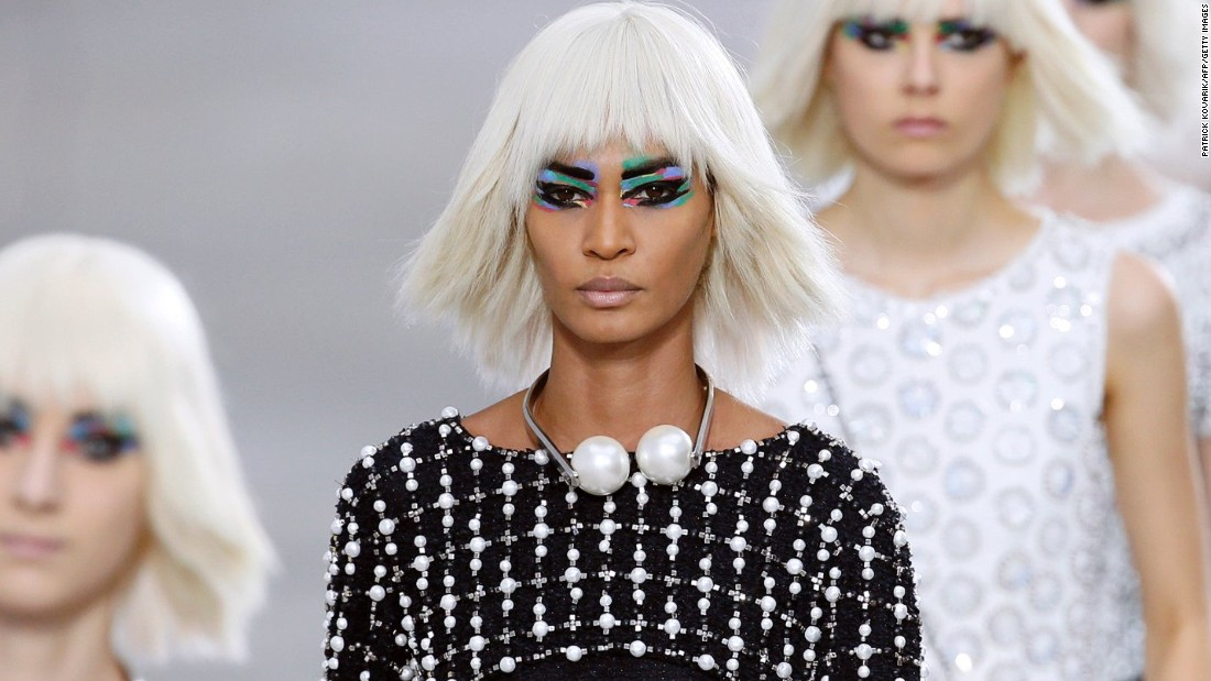The colorful prints that defined Chanel's spring-summer 2014 collection were reflected on the model's eyelids too. No wonder: Peter Philips, who created the look, was inspired by a swatch from the collection.
