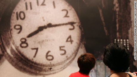 This clock, displayed at Hiroshima Peace Memorial Museum, stopped at the time the world's first atomic bomb hit Hiroshima,