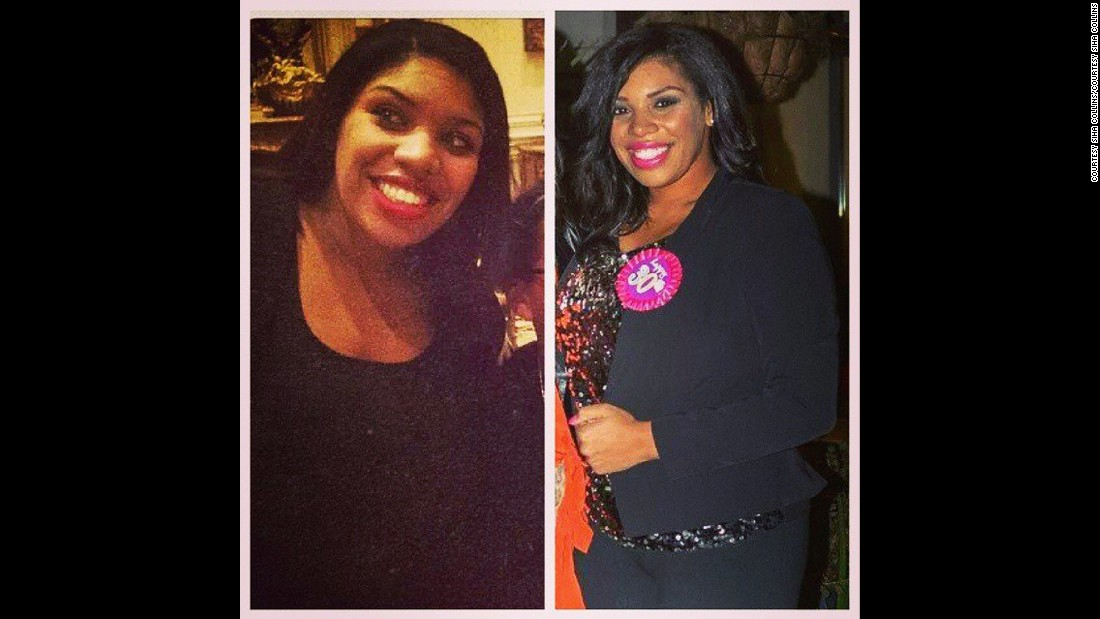 In the picture on the left, Collins is pictured in Los Angeles in 2012. The picture on the right was taken at her 30th birthday party in November.