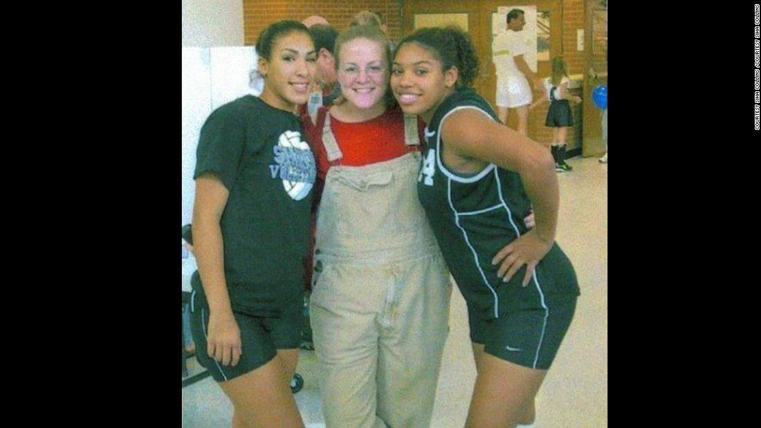 Collins is pictured here in 2001 as a junior in high school. She was highly self-conscious of her appearance even then. She dreaded going into the locker room.