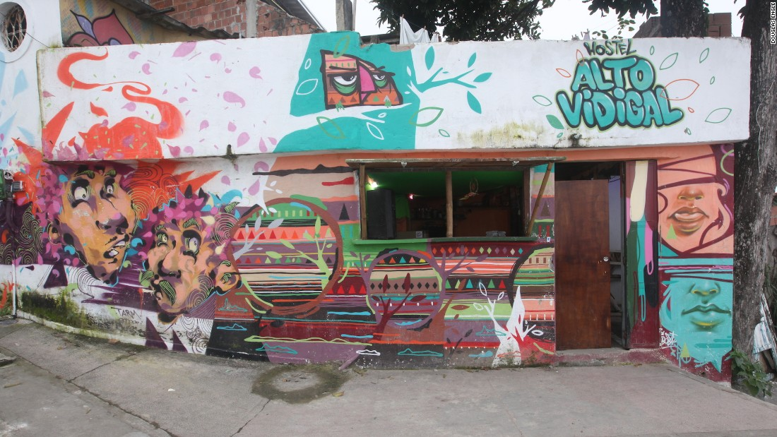 The most popular Rio favela by far among tourists is Vidigal. It's home to traditional hostels like the Hostel Alto Vidigal, which is covered in colorful murals.