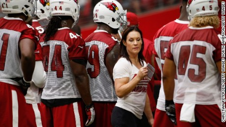 GLENDALE, AZ - AUGUST 02:  Intern linebacker coach Jen Welter of the Arizona Cardinals works with the defense during the team training camp at University of Phoenix Stadium on August 2, 2015 in Glendale, Arizona.  (Photo by Christian Petersen/Getty Images)