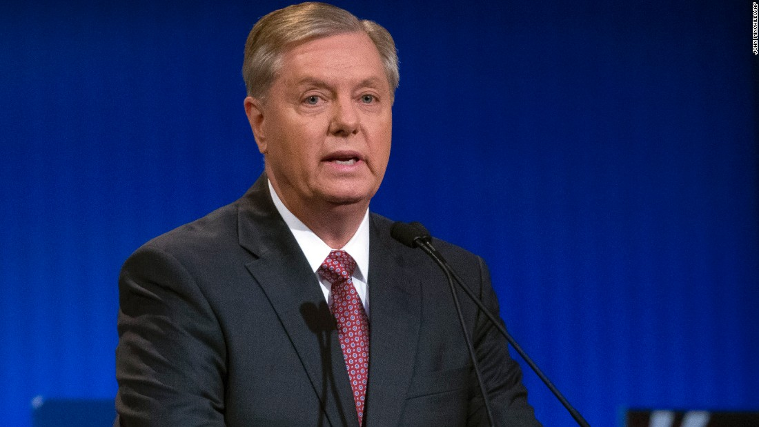 Republican presidential candidate Lindsey Graham is a South Carolina senator and previously served in the Air Force.