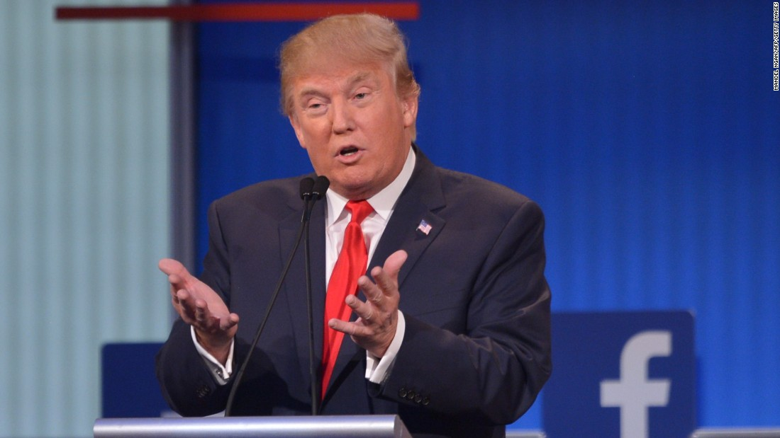Trump participates in the Republican debate in Cleveland.
