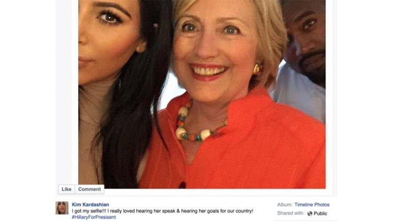 Where was Hillary Clinton? With the Kardashians