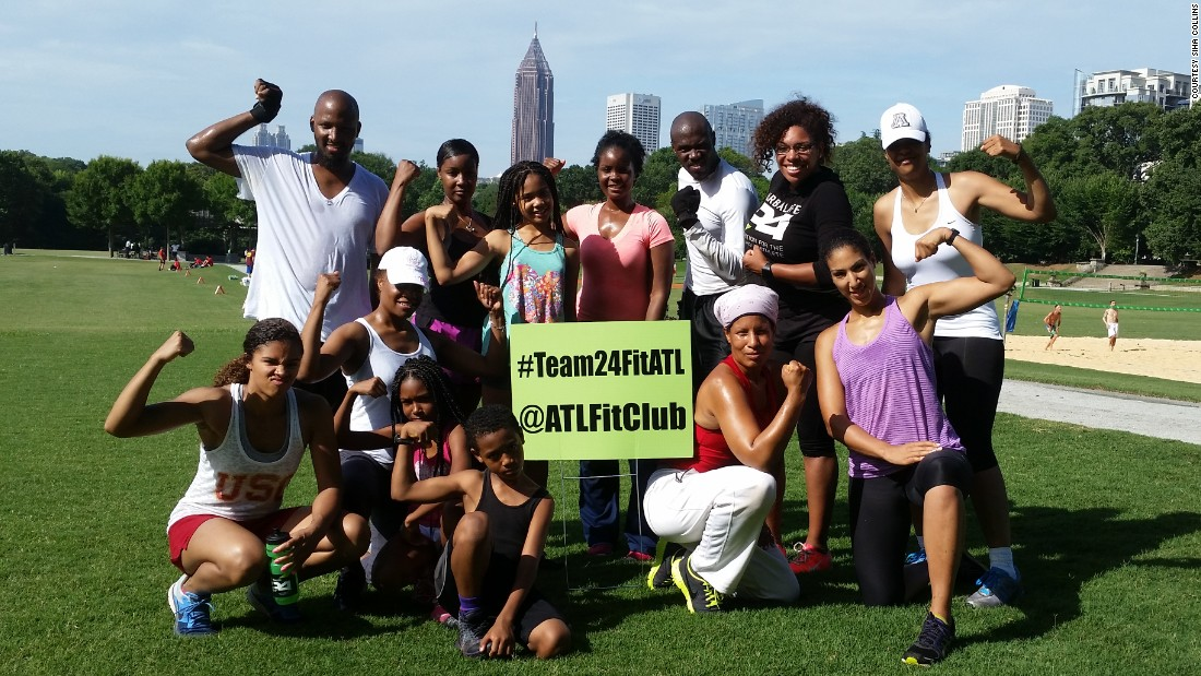 Collins hosts boot-camp-style training, followed by meditation with support groups in Atlanta.