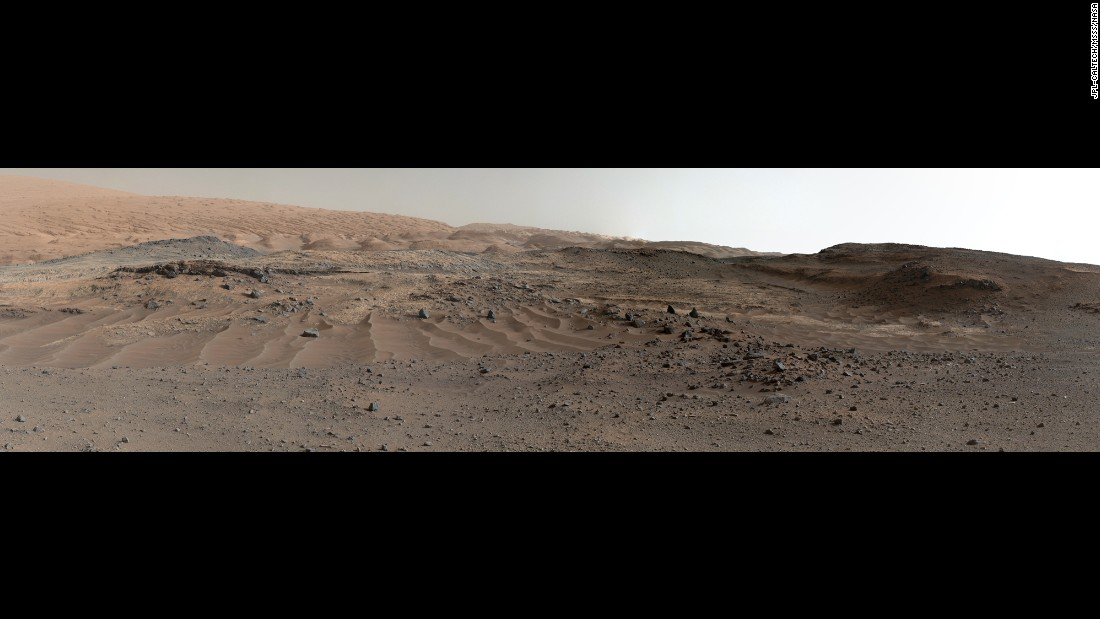 "Curiosity snapped <a href=""http://mars.nasa.gov/msl/multimedia/images/?ImageID=7404"" target=""_blank"">the images used in this panorama</a> of Mount Sharp on April 10 and April 11. The rover's mission is to investigate Mount Sharp for clues about the Martian environment and how it has changed over time."