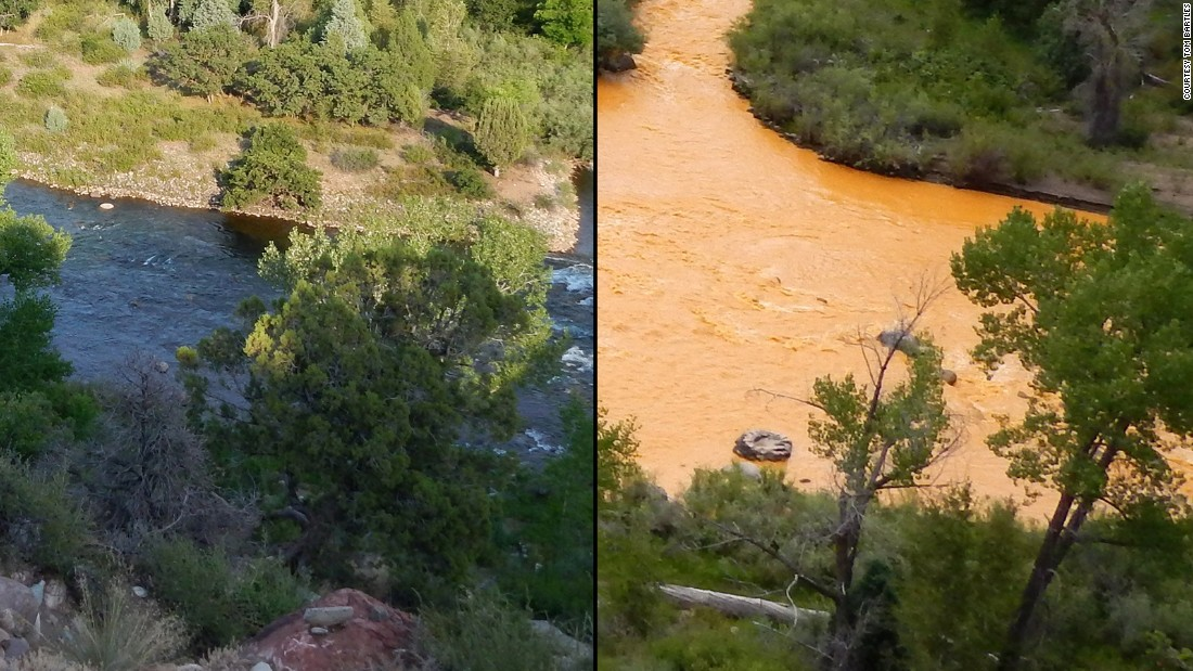 "Tom Bartles shared views of the river from his backyard in Durango, before and after the spill. The before shot, on the left, was captured on August 6 when Bartles was aware the spill happened and was making its way down the river to Durango. The photo showing the ""after"" was captured on August 7."