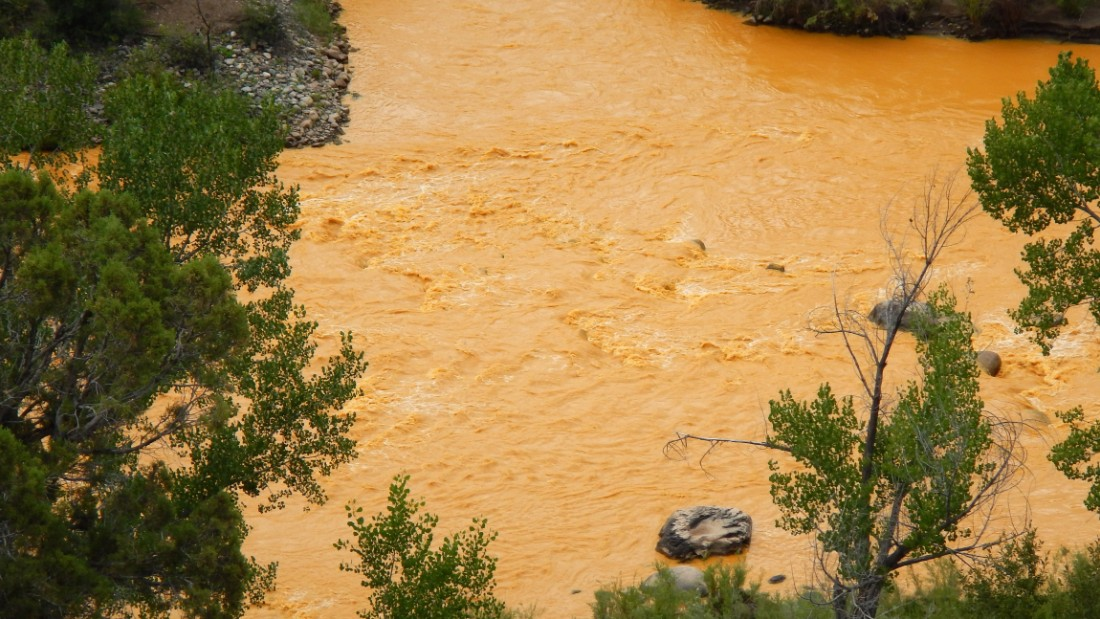 The Animas River turned orange after a mine waste spill.