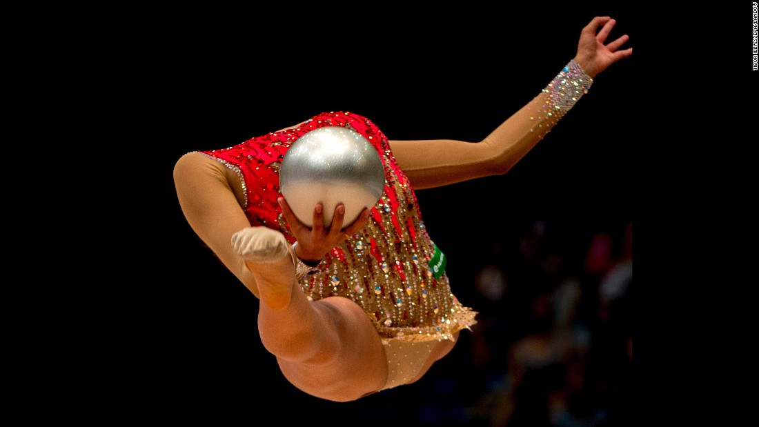 Margarita Mamun of Russia performs the ball exercise in the final of the individual competition of the Fourth Hungarian Rhythmic Gymnastics World Cup tournament Budapest, Hungary, on Sunday, August 9. Mamun placed second.