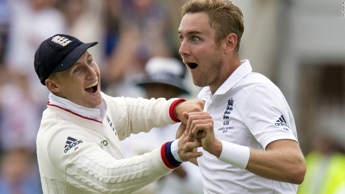England's Stuart Broad, right, celebrates with teammate Joe Root on the first day of the fourth Ashes test cricket match in Nottingham on Thursday, August 6.