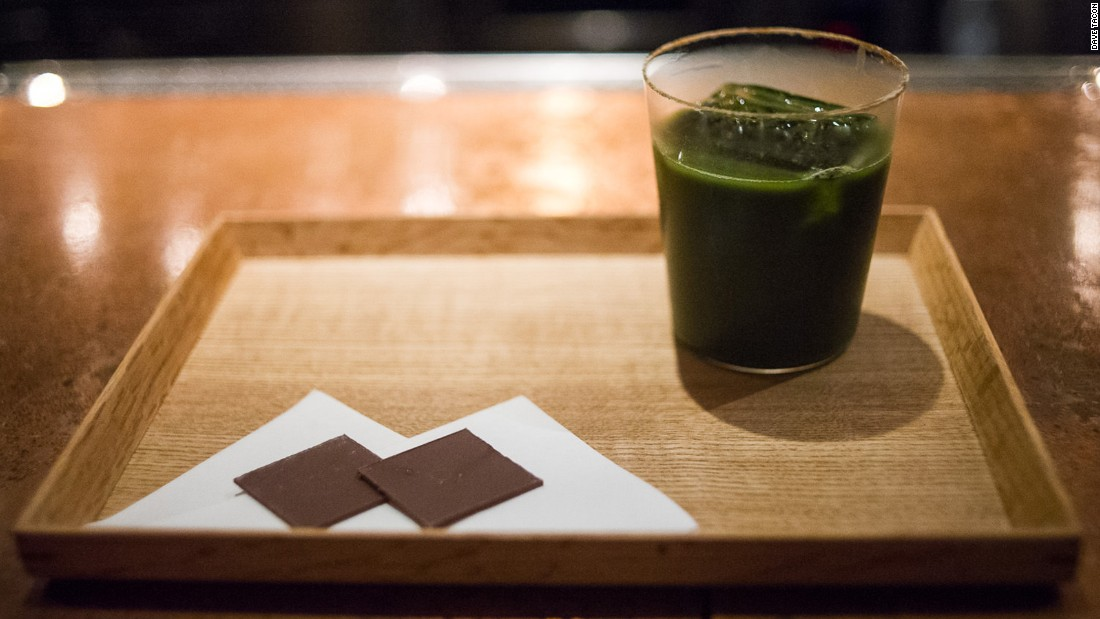 Speak Low's eponymous signature cocktail is a blend of green macha tea, Bacardi Superior and Bacardi 8 rums and Pedro Ximenez sherry. It's served with dark chocolate to match its bitter but intricate flavors.