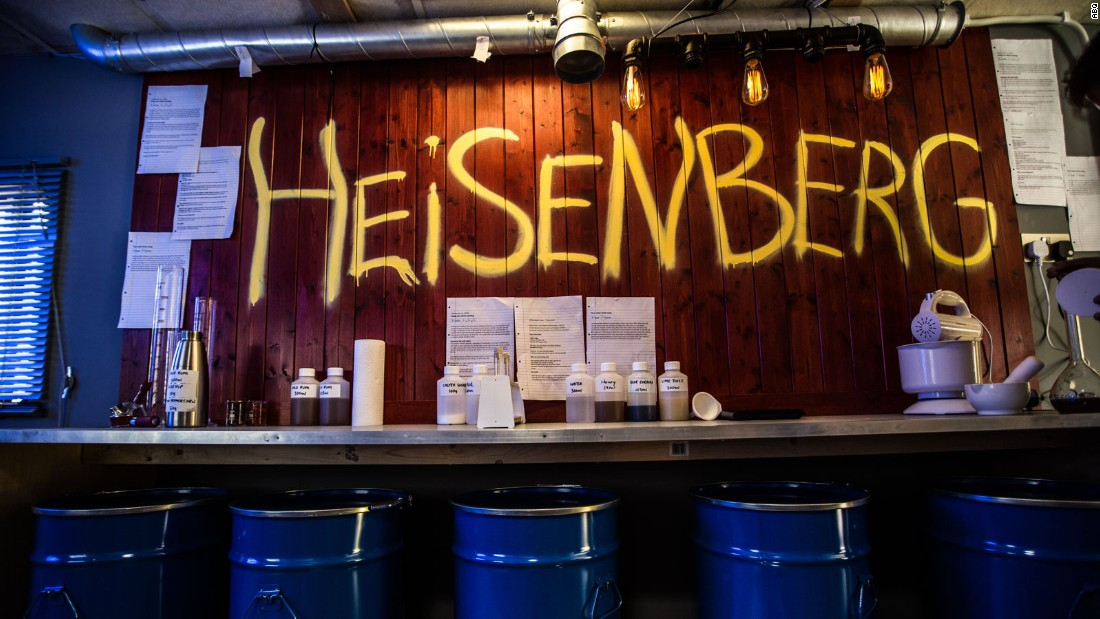 Customers can pull up an oil drum underneath some graffiti honoring Heisenberg, Walter White's alias in the show.