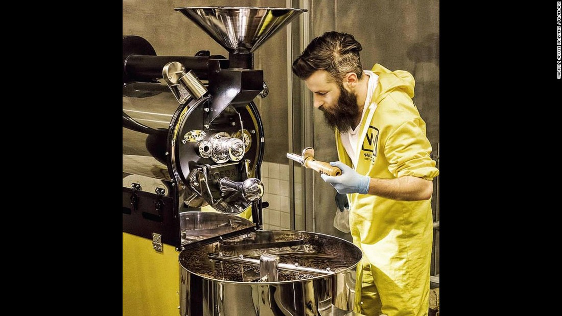 Baristas wear yellow hazmat suits when operating their hugely impressive coffee machines. Owners hope to expand the operation in Turkey, and eventually to Europe and the United States.