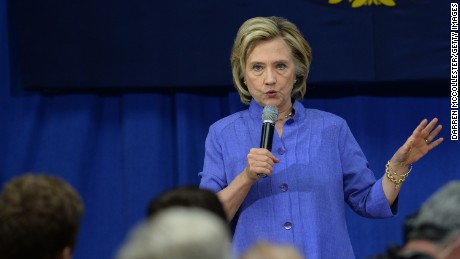 Democratic presidential candidate Hillary Clinton speaks at a town hall meeting at Exeter High School August 10, 2015 in Exeter, New Hampshire.