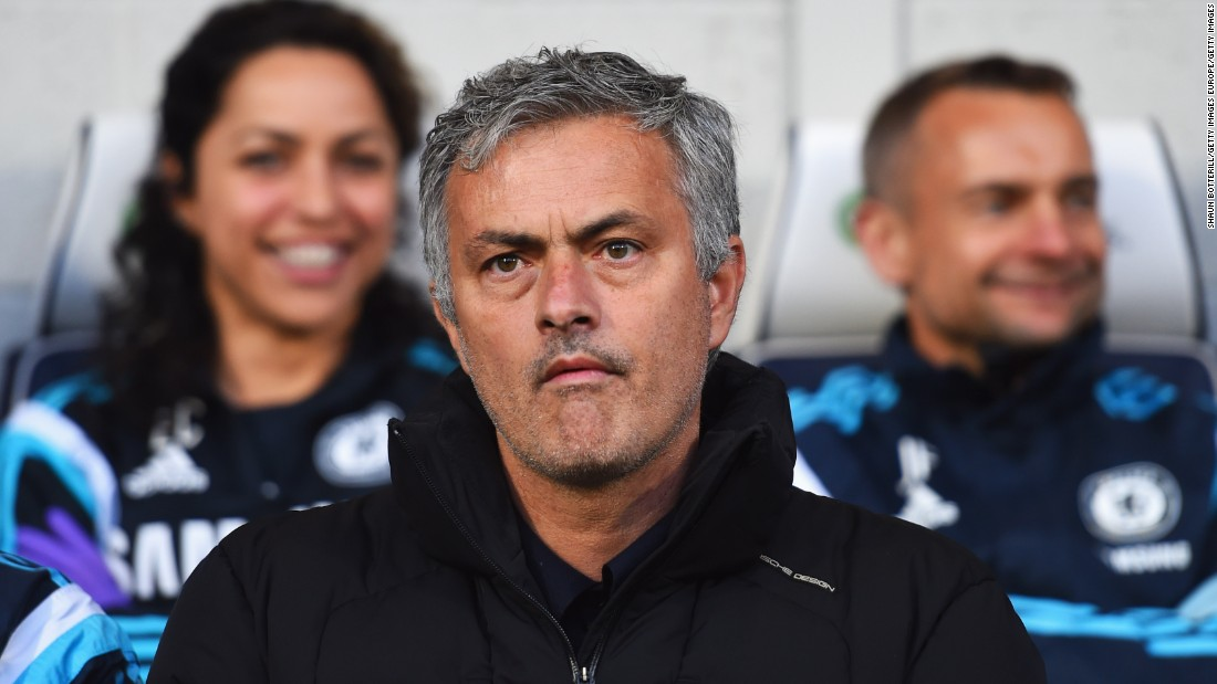 Mourinho looks on from the bench prior to the Premier League match between West Bromwich Albion and Chelsea at The Hawthorns on May 18, 2015. Carneiro is pictured to Mourinho's right.