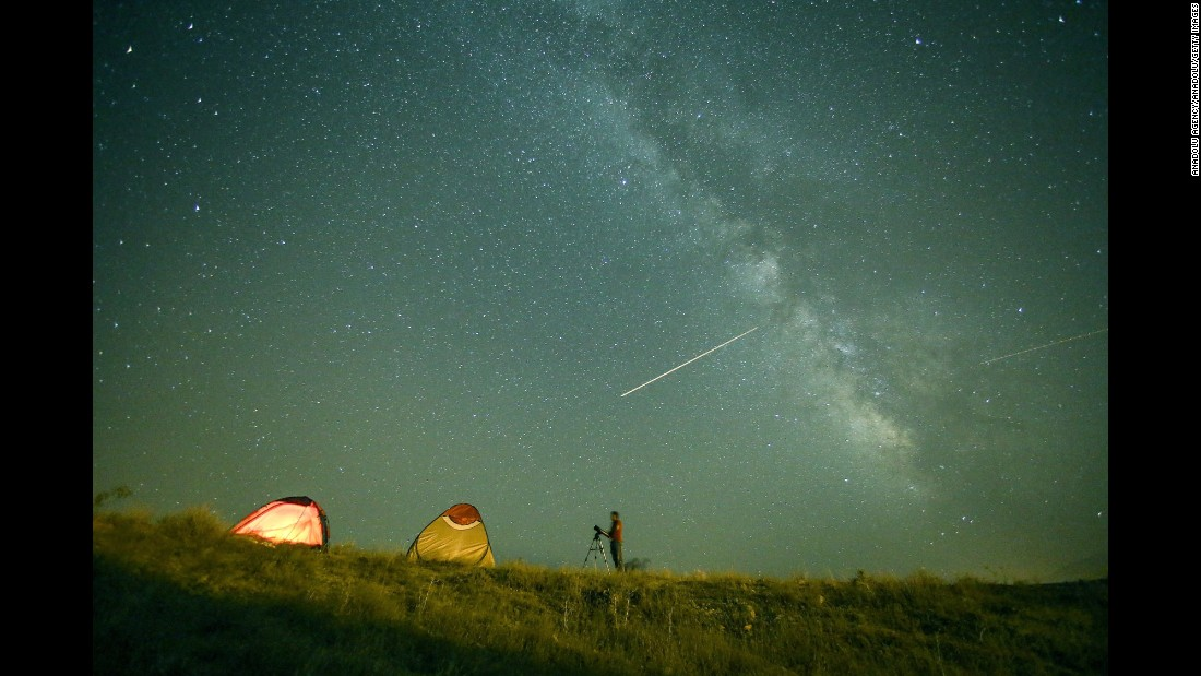 Perseid meteors flash across the sky in Van, Turkey, on Wednesday, August 12.