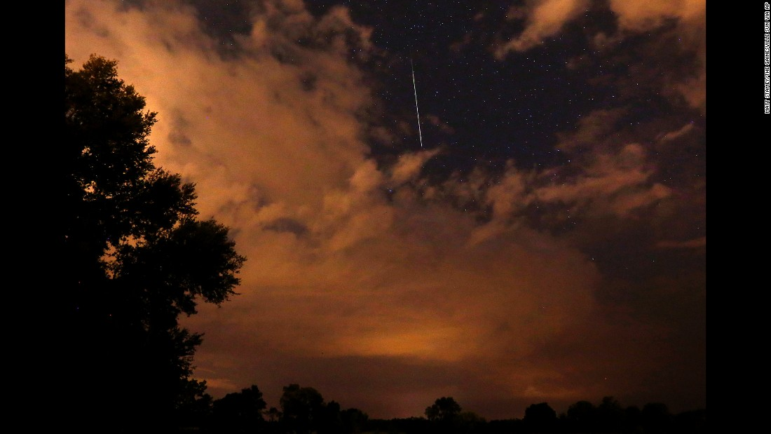 A meteor zooms through the sky above Gainesville, Florida, on August 13.