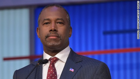 Retired neurosurgeon Ben Carson participates in the Republican presidential primary debate on August 6, 2015 at the Quicken Loans Arena in Cleveland, Ohio.