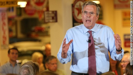 "GOP presidential candidate Jeb Bush alluded to his brother's ""Mission Accomplished"" boast during an event in Ankeny, Iowa, Thursday."