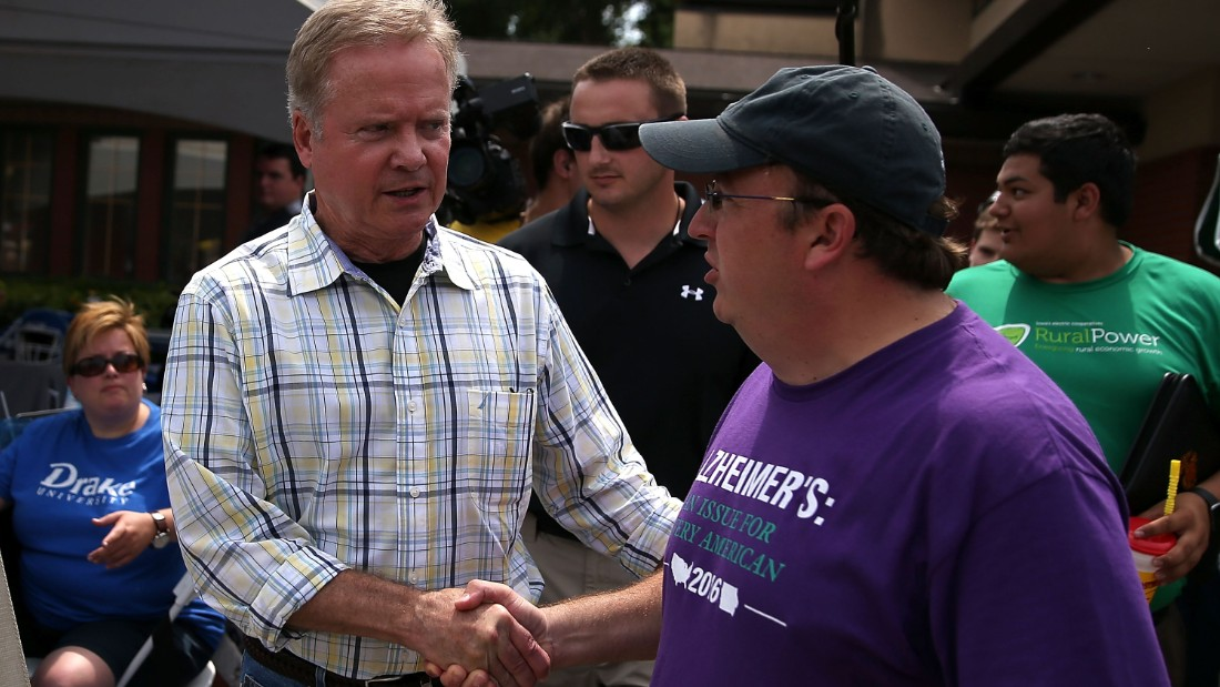 Democratic presidential candidate and former U.S. Sen. Jim Webb (D-VA) greets a fairgoer at the Iowa State Fair on August 13, 2015 in Des Moines, Iowa.
