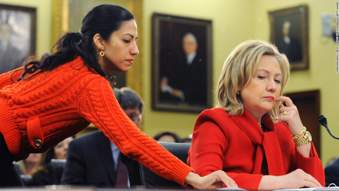 Clinton (right) receives a note from Abedin as she testifies about the State Department's 2012 budget during a House Appropriations subcommittee hearing on March 10, 2011 in Washington.