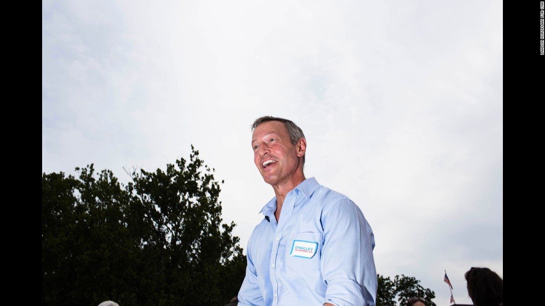 Democtratic presidential candidate Martin O'Malley speaks to the audience. The former Maryland governor is Bernie Sanders' foremost progressive challenger for the party's nomination.
