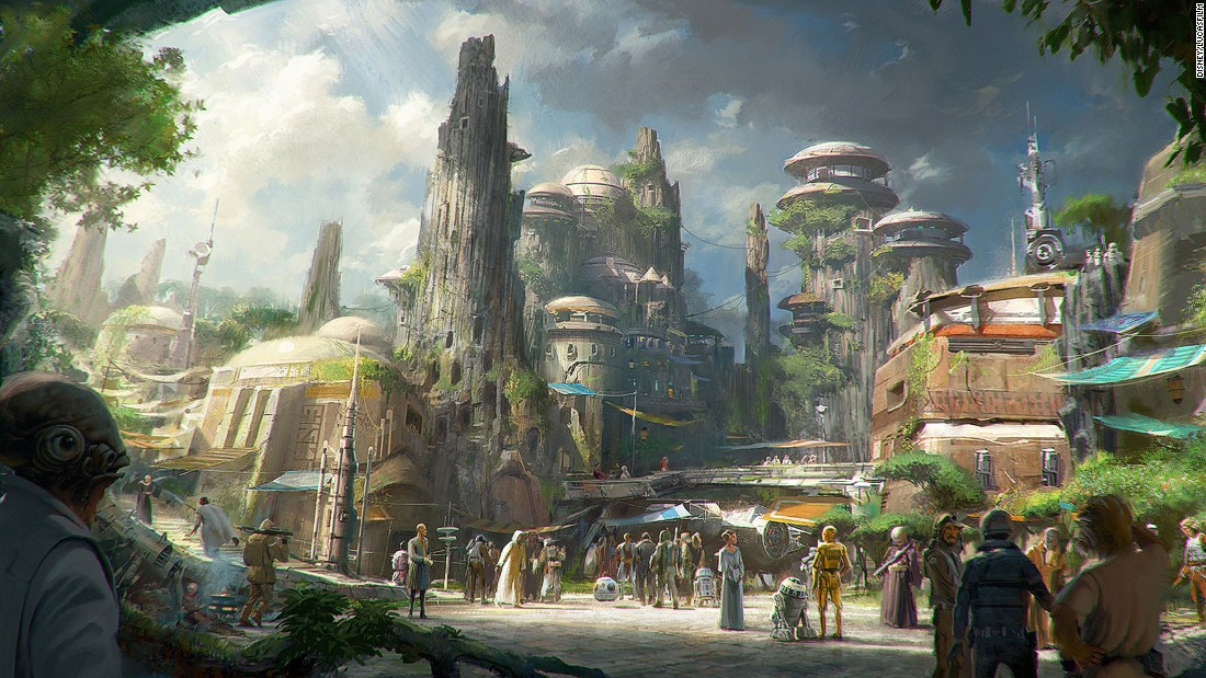 "These artist's concepts show plans for upcoming ""Star Wars"" attractions at Disneyland, California, and at Walt Disney World Resort in Florida."