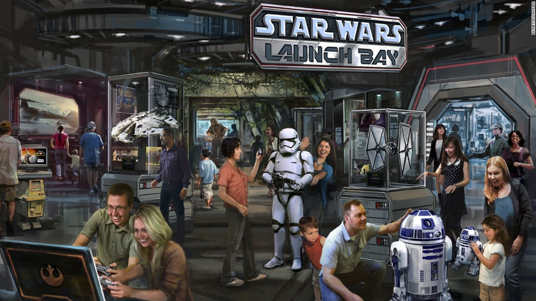 "Opening in 2015, the Star Wars Launch Bay attraction at Disney's Hollywood Studios and Disneyland, California will give guests a taste of the world of ""Star Wars: The Force Awakens."""