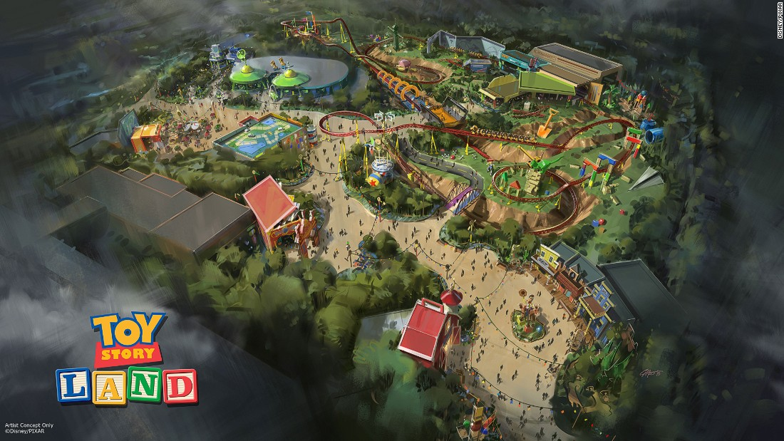 The upcoming 11-acre Toy Story Land attraction at Disney's Hollywood Studios in Florida will include a new roller coaster inspired by Slinky Dog and a spinning flying saucer ride which pays tribute to the claw-machine aliens.