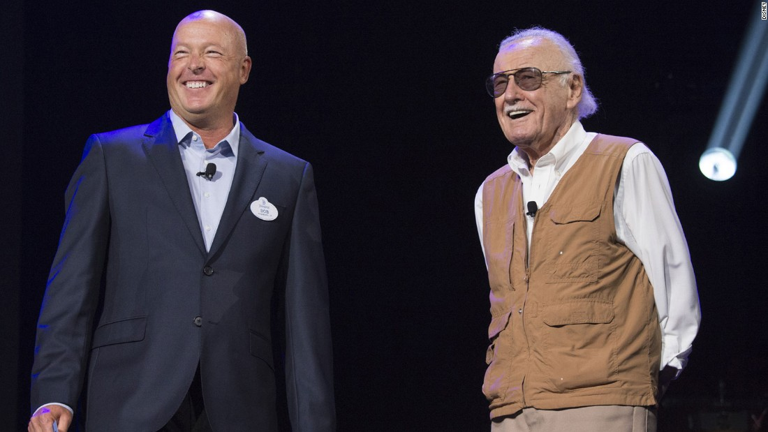 Legendary comic book writer and Marvel supremo Stan Lee (right) joined Disney exec Bob Chapek on stage at the D23 Expo for the unveiling of the new Iron Man Experience at Hong Kong Disneyland.