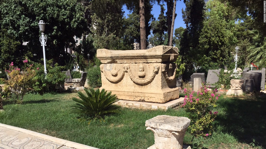 Not all of the sarcophagi have been covered in concrete yet, and the garden has been hit several times by mortar rounds in recent years.